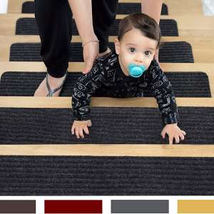 EdenProducts Patent Pending Non Slip Carpet Stair Treads, Set of 15, Rug Non Skid Runner for Grip and Beauty.