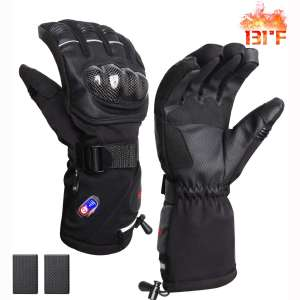 RTDEP Heated Riding Motorcycle Gloves Touch Screen Gloves Winter Warm Leather Gloves with Rechargeable Battery