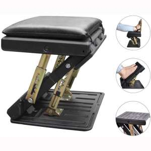 Adjustable Footrest with Removable Soft Foot Rest Pad Max-Load 120Lbs with Massaging Beads 4-Level Height Adjustment