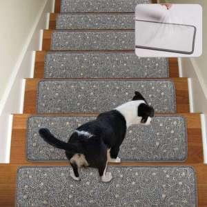 Stair Treads Non-Slip Carpet Indoor Set of 13 Grey Carpet Stair Tread Treads Stair Rugs Mats with Self Adhesive Skid Resistant