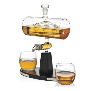 Godinger Whiskey Decanter with Two Whiskey Tumblers