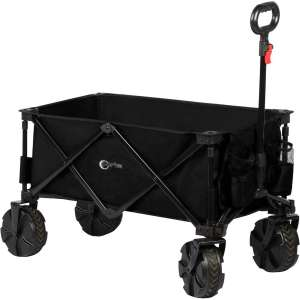PORTAL Collapsible Folding Utility Wagon Cart with 8 inches Wheels Telescoping Handle for Outdoor Garden and Beach Use, Black
