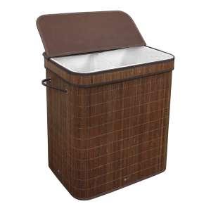 Greenco Bamboo Foldable Double Laundry Hamper