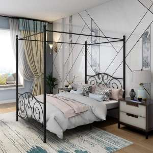 JURMERRY Metal Canopy Bed Frame with Vintage Headboard
