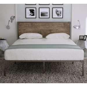 Amolife Industrial Queen Size Metal Platform Bed Frame, Snow Brown