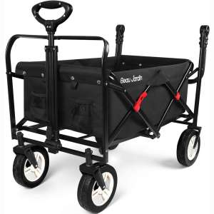 BEAU JARDIN Folding Push Wagon Cart Collapsible Utility Camping Grocery Canvas Fabric Sturdy Portable Rolling Lightweight Buggies Outdoor