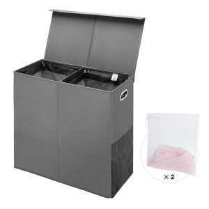 Greenstell Double Laundry Hamper Foldable Grid Laundry