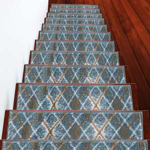 """Stair Treads Modern Collection Contemporary, Cozy, Vibrant and Soft Stair Treads   Teal & White, 9"""" x 28""""   Pack of 13"""