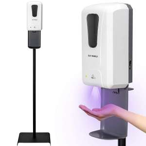 Touchless Hand Sanitizer & Dispenser - Designed by Solidarity USA Company. Stainless Steel Sanitizing Station Stand