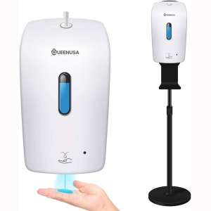Automatic Hand Sanitizer Dispenser and Floor Stand Station Kit (Dispenser + Stand + Drip Tray Installed)