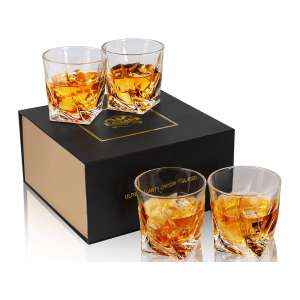 KANARS Old Fashioned Cocktail Crystal Whiskey Glasses