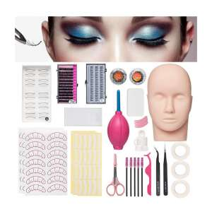 Krofaue Mannequin Training Head False Eyelashes Extension Kits