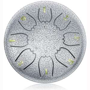 """""""OcarinaWind"""" 6.3 Inch C Major Steel Tongue Drum Silver 8 Notes with Elegant Quality Drum Bag and Couple of Mallets,Easy to Learn,Wonderful Gift Idea,Titanium Steel Alloy"""