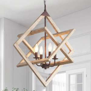 CREATE BRIGHT 4 Candles Ceiling Hanging Square Wooden Chandelier