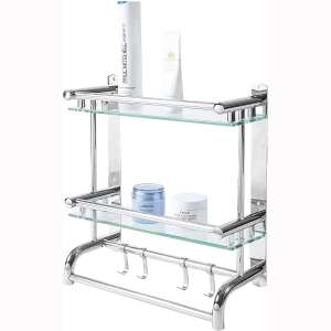 MyGift Wall Mounted Stainless Steel Bathroom Shelf Storage Rack:Organizer, 2 Tier Glass Shelves & 2 Towel Bars with Hooks
