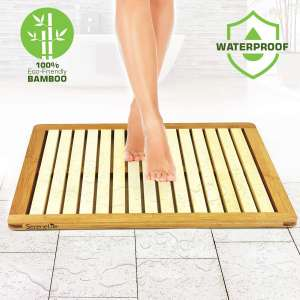 SereneLife Bamboo Wood Bathroom Bath Mat-Heavy Duty Natural or Shower Floor Foot Platform Rug with Elevated Design for Water Evaporation and Non Slip Rubber Feet for Indoor Outdoor Use
