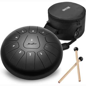 Moukey Steel Tongue Drum 11 Notes 10 Inches Pan Drum Percussion Steel Drum Instrument Tank Drum with Drumsticks, Tone Sticker, Music Book and Padded Travel Bag-D Major