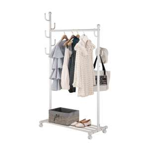 SINGAYE 2-in-1 Garment Racks with Lockable Wheels (White)