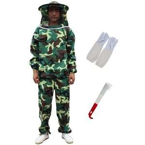 Feiyy Bee Keeper Uniform, Bee Keeper Outfit, Beekeeping Suit Protective with Veil Hood (Jacket, Pants, Gloves, Scraper)