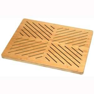 Oceanstar Bamboo Floor Non-Slip Rubber Feet Bath mat, One Size, Natural
