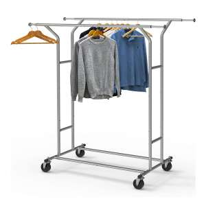 Simple Houseware Double-Rail Garment Racks- Chrome