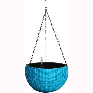 TABOR TOOLS Self-Watering Hanging Planter for Indoor-Outdoor. Wicker-Design, 10 Inch Diameter Plastic Weave Basket with Water Level Indicator Gauge. TB711A. (Blue)
