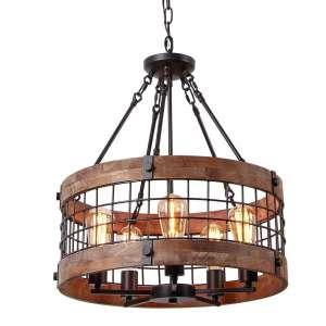 Anmytek 5 Lights Antique Style Wooden Chandelier