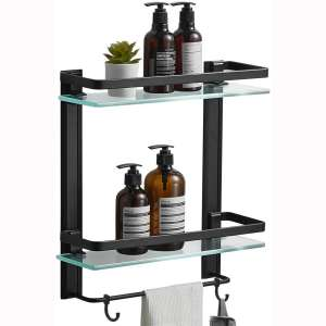 BESy Heavy Duty Lavatory Glass Bathroom Shelf, 2 Tier Tempered Glass Shower Shelves with Towel Bar Wall Mounted, Shower Storage 15 by 5 inches, Matte Black Finish:Aluminum