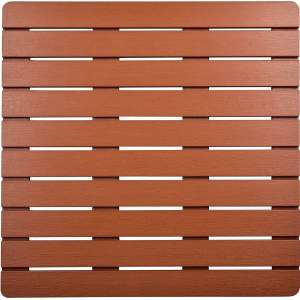 I FRMMY Premium Large Bath Tub Shower Floor Mat Made of PS Wood- Suitable for Textured and Smooth Surface- Non Slip Bathroom Mat with Drain Hole - 21.8 x 21.8 inch (Teak Color)