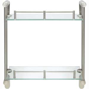 MODONA Double Wall Glass Shelf with Pre-Installed Rail - Satin Nickel - Oval Series - 5 Year Warrantee