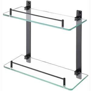 KES Bathroom Shelf 2 Tier Tempered Glass Shower Shelf Storage Organizer SUS304 Stainless Steel Wall Mount Matte Black, BGS2202B-BK