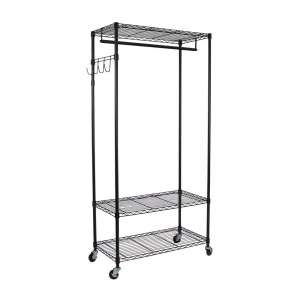 Oceanstar Garment Racks with Adjustable Shelves, Black