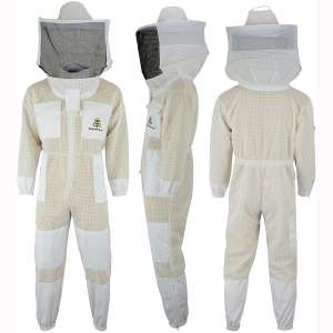 SRV- 3X Layer Ultra Ventilated Safety Protective Unisex White Fabric Mesh Beekeeping Suit Beekeeper Suit Outfit Round Veil