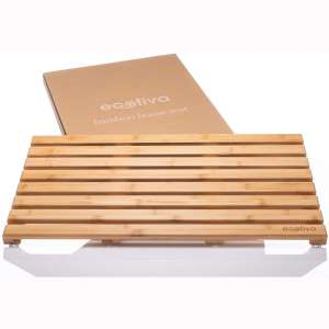 Eco Friendly Bamboo Bath Mat - Bamboo Shower Mat Packaged with Zero Plastic - Indoor:Outdoor Shower Mat - Engineered Safe, Extra Grooved Non-Slip Feet - Bamboo Floor Mat - Wood Bath Mat - Bamboo Mat