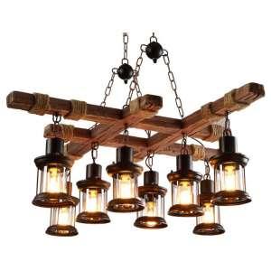LAKIQ Retro Industrial Wooden Chandelier