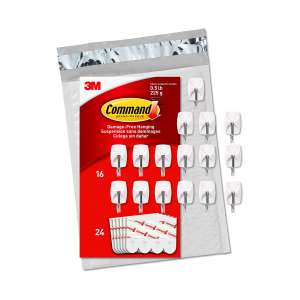 Command Small Wire Hooks with 16 hooks