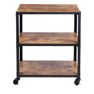 Mind Reader Charm 3 Tier Wood:Metal Utility Cart