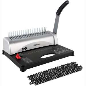 Binding Machine, 21-Holes, 450 Sheets, Comb Binding Machine with Starter Kit 100 PCS 3:8'' Comb Binding Spines