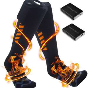PBOX Heated Socks for Men:Women - Rechargeable Electric Socks with 5000mAh Large Capacity Battery- Up to 18 Hours of Heat