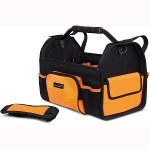 Internet's Best Open Top Tool Bag - Rigid Frame Tote Tool Box - 16 Pocket Hard Utility Tool Bin - 17 Inch