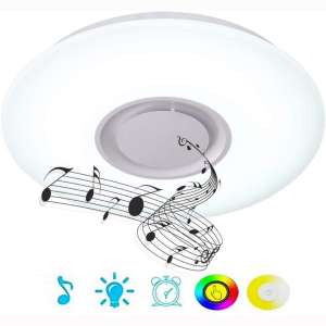 Upgrade 36W LED Ceiling Lights with Bluetooth Speaker Smartphone APP, Dimmable 19.7-inch Music RGBW Color Temperature Adjustable