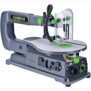 """Genesis GSS160 1.2 Amp 16"""" Variable Speed Scroll Saw with Quick-Change System, Dust Blower, and Die-Cast Table for Left:Right Tilting"""