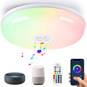 LED Smart Ceiling Light Fixtures 24W Wifi Flush Mount light with Bluetooth Speaker,Compatible with Alexa & Google Assistant
