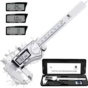 MOOCK Digital Caliper, Durable 6inch:150mm Stainless Steel Electronic Measuring Tool Vernier Calipers, Inch Fractions Milimeter Conversion, IP54 Protection Accurate Gauge with LCD Screen