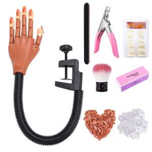 Practice Hand for Acrylic Nails-Flexible Moveable Nail Trainning Practice Hand Kits,False Fake Mannequin Hands For Nails Practice DIY Print Practice Tool