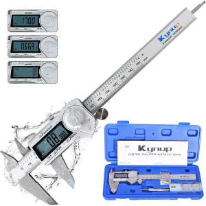 Kynup Digital Caliper, Caliper Measuring Tool with Stainless Steel, IP54 Waterproof Protection Design, Easy Switch from Inch Metric Fraction, Large LCD Screen (6 Inch :150mm)