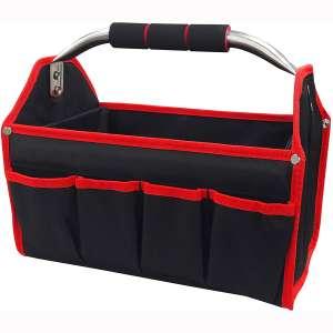 HAUTMEC 8 Pockets Wide Mouth Electrician Open Top Tool Tote Bag, 13 Inch Stiff Frame Heavy Duty electrician Tool Bin