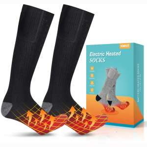 Jomst Upgraded Heated Socks,Rechargeable Battery Heating Socks for Men Women,Winter Warm Cotton Socks Camping