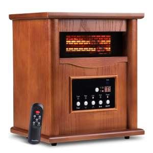 LifePlus Electric Infrared Quartz Heater Wood Cabinet
