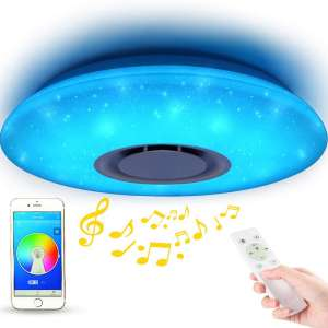 LED Starlight Music Ceiling Light with Bluetooth Speaker - MUMENG 36W Brightness Dimmable and Color Changing
